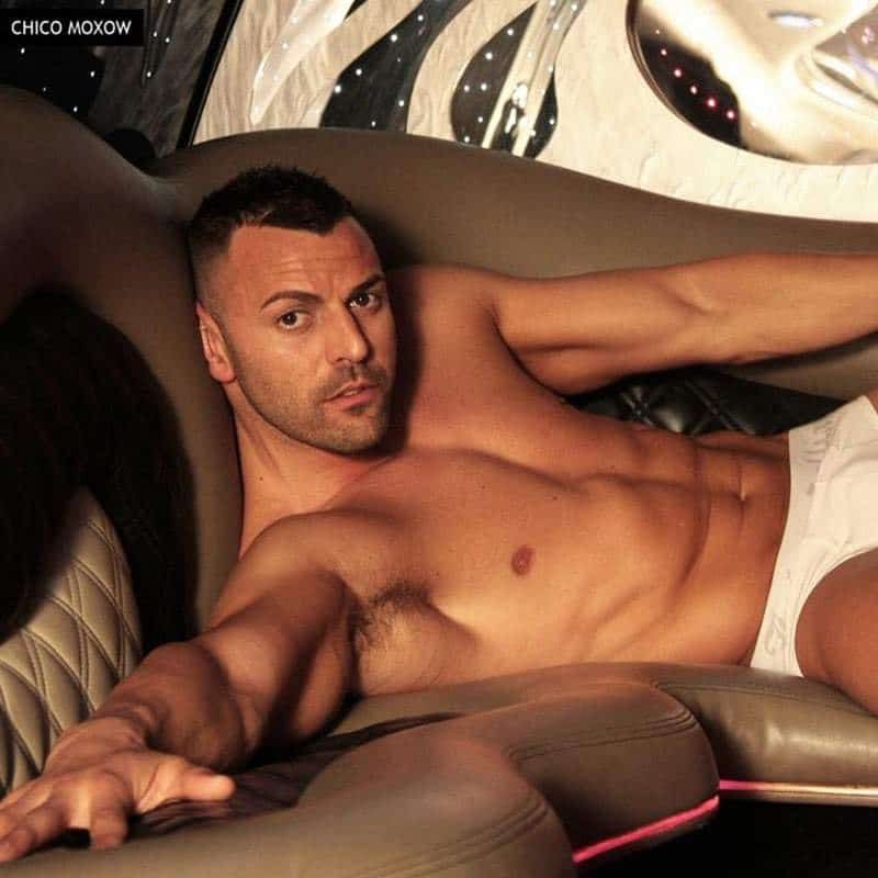 Barcelona strippers Joel Acosta laying down on a couch in a limousine